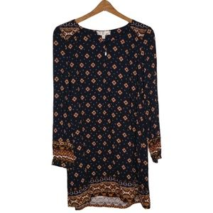 Hippie Rose Boho Long Sleeve Tunic Dress Large